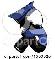 Ink Police Man Sitting With Head Down Facing Sideways Left