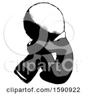 Ink Clergy Man Sitting With Head Down Facing Sideways Left