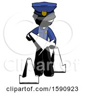 Ink Police Man Holding A Traffic Cone