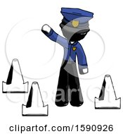 Ink Police Man Standing By Traffic Cones Waving