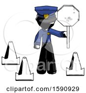 Ink Police Man Holding Stop Sign By Traffic Cones Under Construction Concept