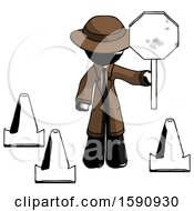 Ink Detective Man Holding Stop Sign By Traffic Cones Under Construction Concept