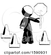 Ink Clergy Man Holding Stop Sign By Traffic Cones Under Construction Concept