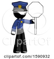 Ink Police Man Holding Stop Sign