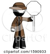 Ink Detective Man Holding Stop Sign