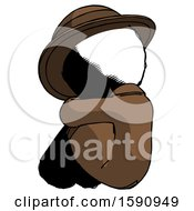 Ink Detective Man Sitting With Head Down Back View Facing Left