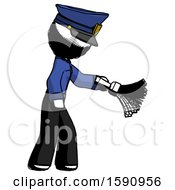 Ink Police Man Dusting With Feather Duster Downwards