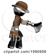 Ink Detective Man Dusting With Feather Duster Downwards