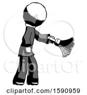 Ink Clergy Man Dusting With Feather Duster Downwards