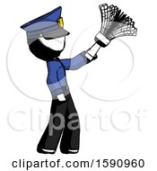 Ink Police Man Dusting With Feather Duster Upwards