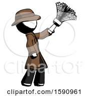 Ink Detective Man Dusting With Feather Duster Upwards