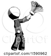 Ink Clergy Man Dusting With Feather Duster Upwards
