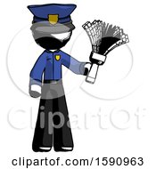 Ink Police Man Holding Feather Duster Facing Forward