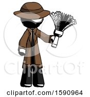 Ink Detective Man Holding Feather Duster Facing Forward