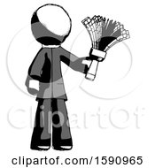 Ink Clergy Man Holding Feather Duster Facing Forward