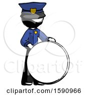 Ink Police Man Standing Beside Large Compass