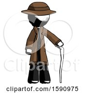 Ink Detective Man Standing With Hiking Stick