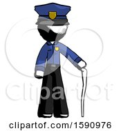 Ink Police Man Standing With Hiking Stick
