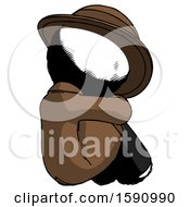 Ink Detective Man Sitting With Head Down Back View Facing Right
