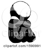 Ink Clergy Man Sitting With Head Down Back View Facing Right