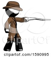 Ink Detective Man Pointing With Hiking Stick
