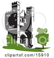 Castle Tower With A Tree And Shrubs Clipart Illustration