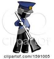 Ink Police Man Sweeping Area With Broom