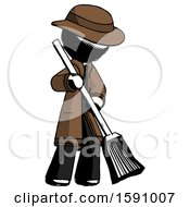 Ink Detective Man Sweeping Area With Broom