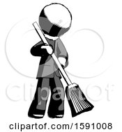 Ink Clergy Man Sweeping Area With Broom