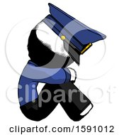 Ink Police Man Sitting With Head Down Facing Sideways Right
