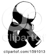 Ink Clergy Man Sitting With Head Down Facing Sideways Right