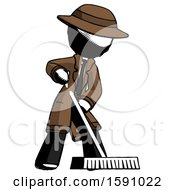 Ink Detective Man Cleaning Services Janitor Sweeping Floor With Push Broom