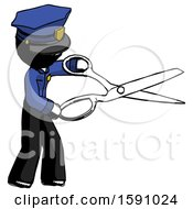 Ink Police Man Holding Giant Scissors Cutting Out Something