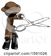 Ink Detective Man Holding Giant Scissors Cutting Out Something