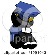 Ink Police Man Sitting With Head Down Facing Angle Right
