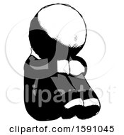 Ink Clergy Man Sitting With Head Down Facing Angle Right