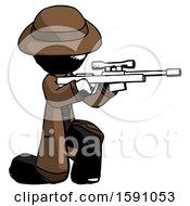 Ink Detective Man Kneeling Shooting Sniper Rifle