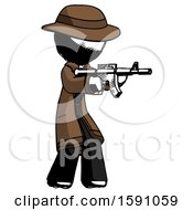 Ink Detective Man Shooting Automatic Assault Weapon