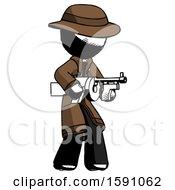 Ink Detective Man Tommy Gun Gangster Shooting Pose