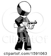 Ink Clergy Man Tommy Gun Gangster Shooting Pose
