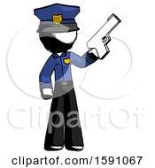 Ink Police Man Holding Handgun
