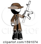 Ink Detective Man Holding Automatic Gun