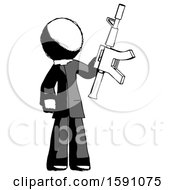 Ink Clergy Man Holding Automatic Gun