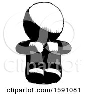 Ink Clergy Man Sitting With Head Down Facing Forward