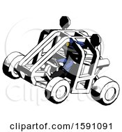 Ink Police Man Riding Sports Buggy Side Top Angle View