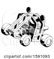 Ink Clergy Man Riding Sports Buggy Side Top Angle View