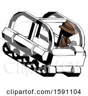 Ink Detective Man Driving Amphibious Tracked Vehicle Top Angle View