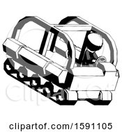 Ink Clergy Man Driving Amphibious Tracked Vehicle Top Angle View