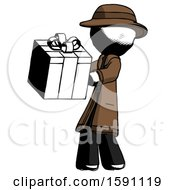 Ink Detective Man Presenting A Present With Large Red Bow On It