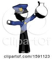 Ink Police Man Holding Large Round Flask Or Beaker